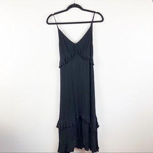 Lulu's Black Tired Ruffle Tie Back Midi Dress XL
